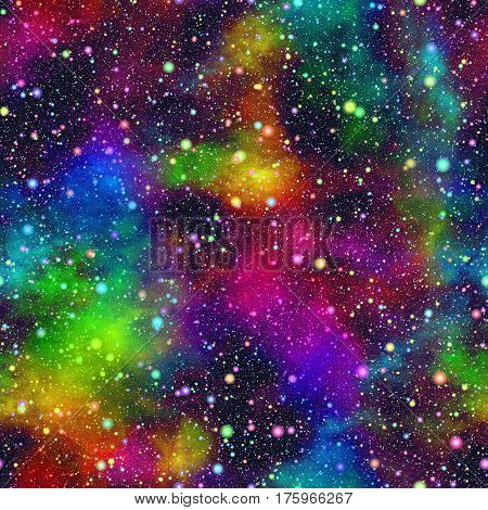 Abstract bright colorful universe, Nebula night starry sky in rainbow colors, Multicolor outer space, Glittering galactic texture background, Seamless illustration