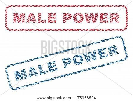 Male Power text textile seal stamp watermarks. Blue red fabric vectorized texture. Vector caption inside rounded rectangular banner. Rubber sticker with fiber textile structure.