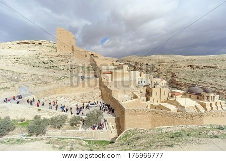 Bethlehem, Israel. - February 14.2017. View Of The Lavra Of Sawa Sanctified In The Judean Desert - M