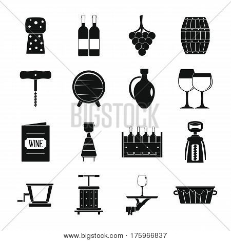 Wine icons set. Simple illustration of 16 wine vector icons for web