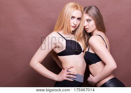 Hot Sexy Girls In Lingerie Posing Sensual In Studio