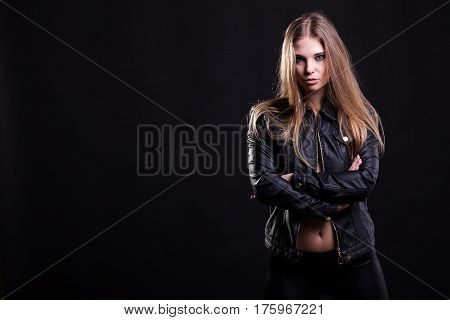 Hot Woman With No Bra In Leather Jacket