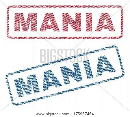 Mania text textile seal stamp watermarks. Blue red fabric vectorized texture. Vector tag inside rounded rectangular shape. Rubber sign with fiber textile structure.