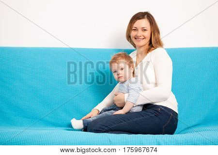 Beautiful Mother And Child Son Having Fun Time Toghether
