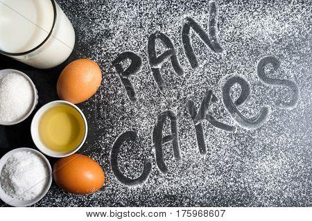 Cooking Pancakes. Delicious Savory Pancakes. Kitchen Table. Crumble Flour, Eggs And Milk.