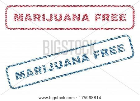 Marijuana Free text textile seal stamp watermarks. Blue red fabric vectorized texture. Vector caption inside rounded rectangular banner. Rubber sign with fiber textile structure.