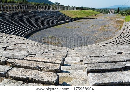 The Stadium in the archaeological site of ancient Messene in Peloponnese, Greece