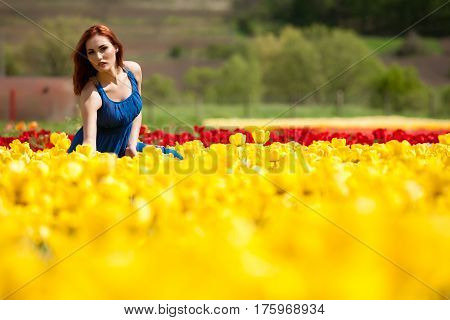Gorgeous Woman In Tulip Field