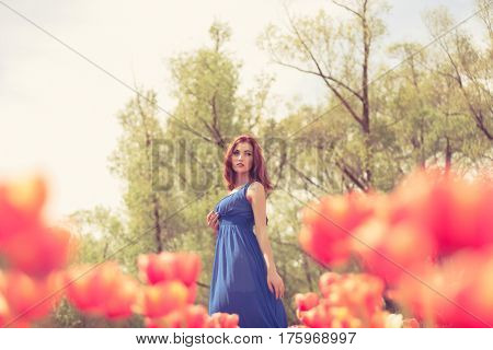 Gorgeous Woman In Red Tulip Flower Field