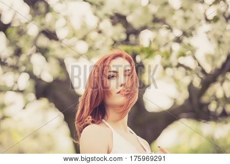 Sensual Redhead Woman Outdoor Photo