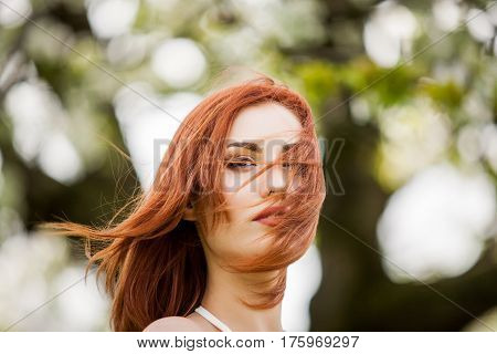 Romantic Redhead Woman Outdoor Photo