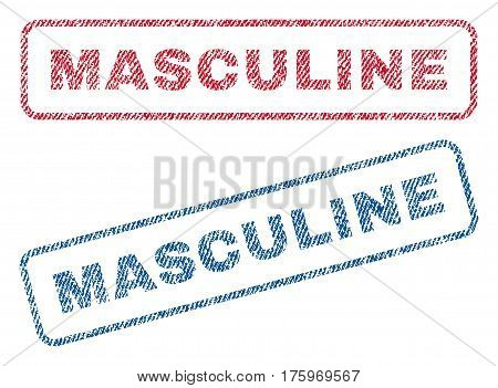Masculine text textile seal stamp watermarks. Blue red fabric vectorized texture. Vector caption inside rounded rectangular banner. Rubber sticker with fiber textile structure.