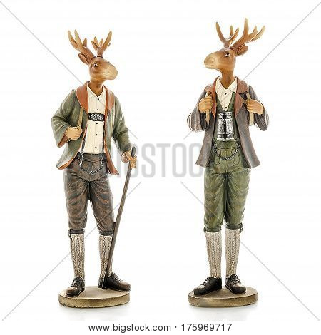 Decorative figurines, statuette a Deer, accessories for interior, isolated white background