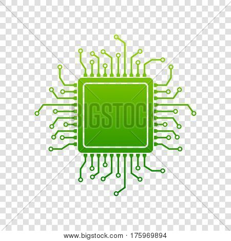 Cpu Microprocessor Illustration. Vector. Green Gradient Icon On Transparent Background.