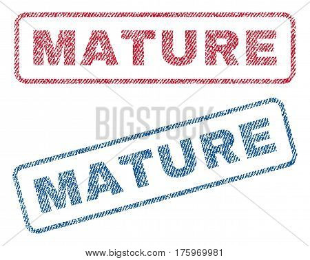 Mature text textile seal stamp watermarks. Blue red fabric vectorized texture. Vector tag inside rounded rectangular shape. Rubber sticker with fiber textile structure.