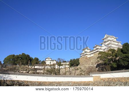 Himeji castle and moat in Himeji Hyogo Japan