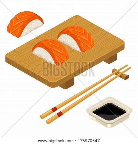 Nigiri Sushi with fish chopsticks soy sauce in bowl and wood board. Isolated on white background. Vector flat color illustration. For icon and menu