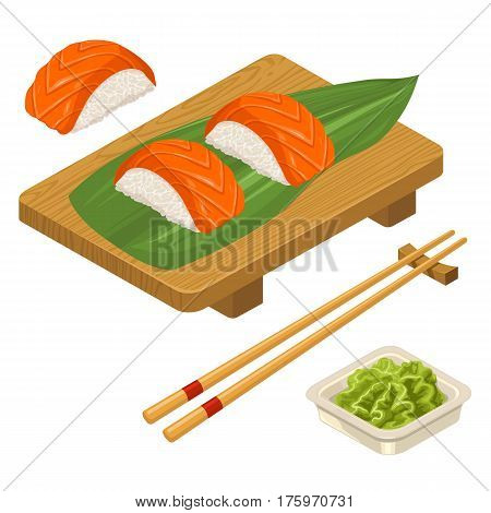 Nigiri Sushi with leaf fish chopsticks wasabi in bowl and wood board. Isolated on white background. Vector flat color illustration. For icon and menu
