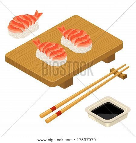 Nigiri Sushi with shrimp chopsticks soy sauce in bowl and wood board. Isolated on white background. Vector flat color illustration. For icon and menu