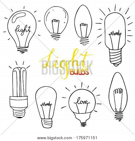 Light bulbs icon set. concept of big ideas inspiration, innovation, invention, effective thinking. CFL lamp.  Isolated. Vector illustration.  Idea symbol. Vector. sketch . Hand-drawn doodle sign.