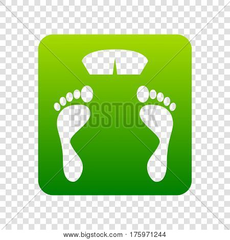 Bathroom Scale Sign. Vector. Green Gradient Icon On Transparent Background.