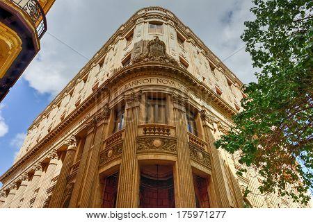 Havana, Cuba - January 8, 2017: The Bank of Nova Scotia building in Havana Cuba.
