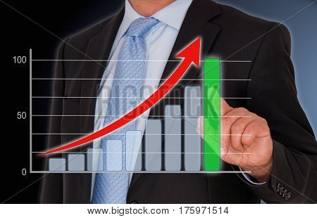 Businessman with Business or Sales Performance Chart