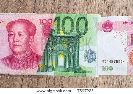 100 Euro And 100 Yaun Bills On Desk.