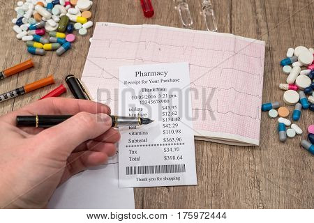 Man Showing On  Pharmacy Receipt With Rx Blank, Pills, Syringe On Desk.