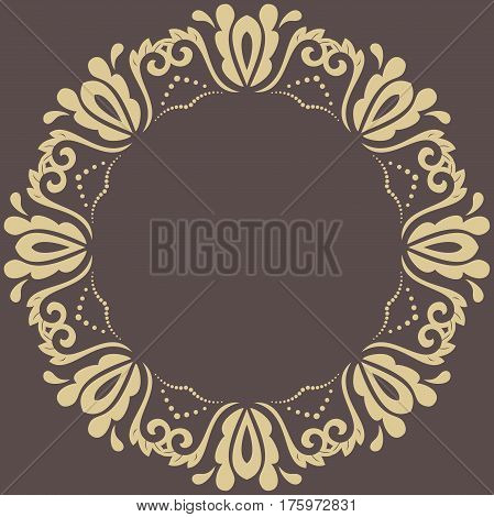 Oriental round golden pattern with arabesques and floral elements. Traditional classic ornament
