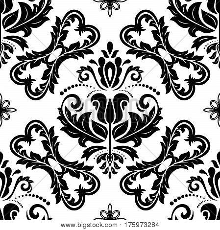 Seamless damask black and white pattern. Traditional classic orient ornament