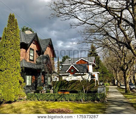 VANCOUVER BC CANADA - March 2017: Private houses on 20th avenue in Kitcilano. March 2017.