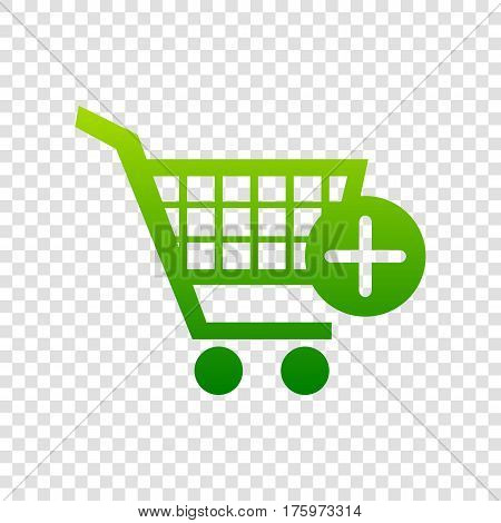 Shopping Cart With Add Mark Sign. Vector. Green Gradient Icon On Transparent Background.