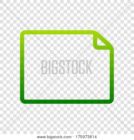Horisontal Document Sign Illustration. Vector. Green Gradient Icon On Transparent Background.