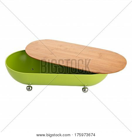 Wooden breadbasket isolated on a white background