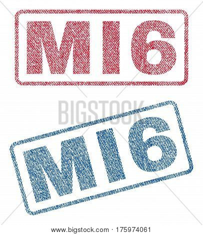 MI6 text textile seal stamp watermarks. Blue red fabric vectorized texture. Vector tag inside rounded rectangular shape. Rubber sticker with fiber textile structure.