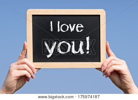 I love you - female hands holding chalkboard with text