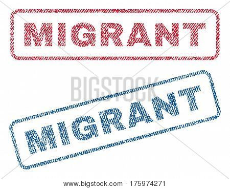 Migrant text textile seal stamp watermarks. Blue red fabric vectorized texture. Vector tag inside rounded rectangular banner. Rubber emblem with fiber textile structure.