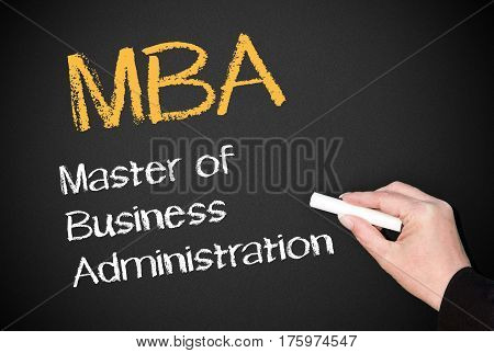 MBA - Master of Business Administration - blackboard with text