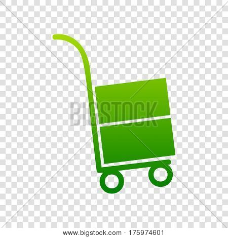 Hand Truck Sign. Vector. Green Gradient Icon On Transparent Background.