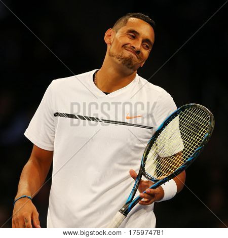 NEW YORK - MARCH 6, 2017: Professional tennis player Nick Kyrgios of Australia in action during  BNP Paribas Showdown 10th Anniversary tennis event at Madison Square Garden in New York