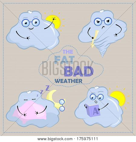 Cute cloud characters vector clipart. Cloud with face and glasses. Funny stickers with emotions. Good mood angry sleepy surprised. Bad weather character for weather forecast nursery art and design