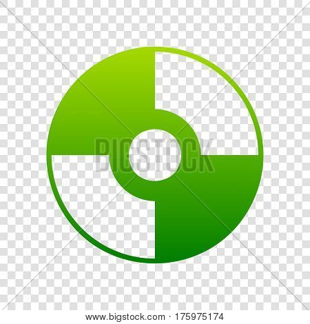 Vector Cd Or Dvd Sign. Vector. Green Gradient Icon On Transparent Background.