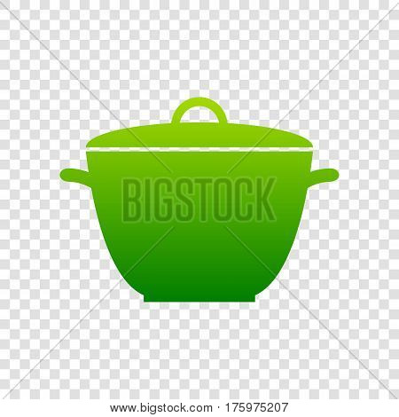 Saucepan Simple Sign. Vector. Green Gradient Icon On Transparent Background.