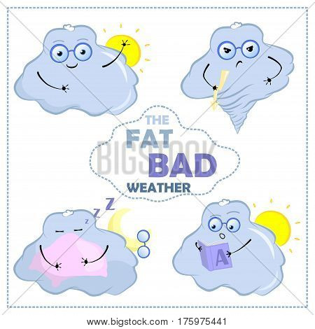 Vector emotion stickers with cloud character. Cute cloud hand-drawn illustration with emotions. Good mood angry sleepy surprised. Bad weather character for weather forecast nursery art banners