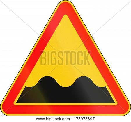 Warning Road Sign Used In Belarus - Uneven Road Ahead