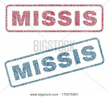 Missis text textile seal stamp watermarks. Blue red fabric vectorized texture. Vector caption inside rounded rectangular shape. Rubber emblem with fiber textile structure.