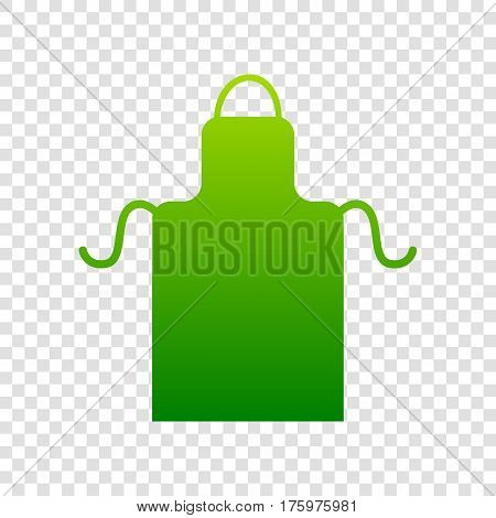 Apron Simple Sign. Vector. Green Gradient Icon On Transparent Background.