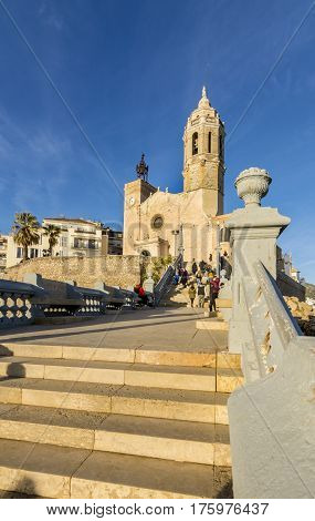 Vanishing point view of Iglesia de Sant Bartomeu i Santa Tecla in Sitges, Spain