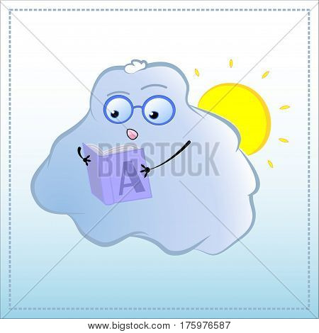 Cartoon character reading book. Cute Cloud in glasses vector illustration. Hand-drawn character for education learning school reading teaching concepts. Interesting literature. Geek love to read